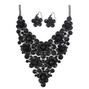 Black crystal flowers necklace set